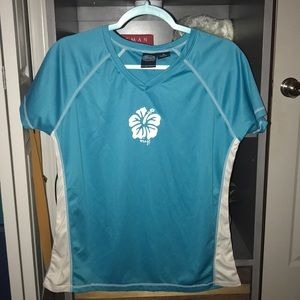 womens blue swimming rashguard sz XL